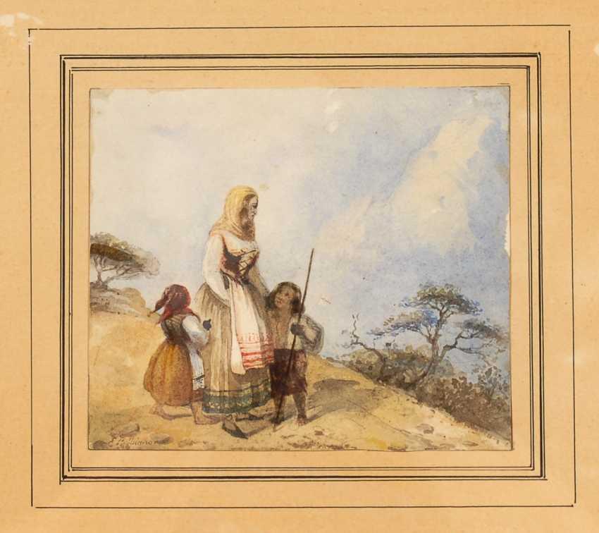 BALBIANO, Eugenio: la Mère avec les Enfants dans un paysage Montagneux. - photo 1