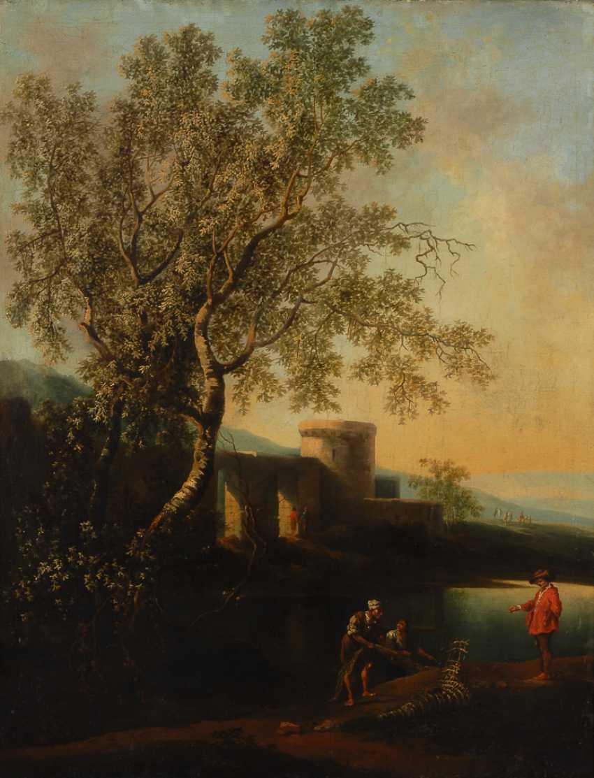 Barocke Landschaft mit einfachem Stuckrahmen. - Foto 1