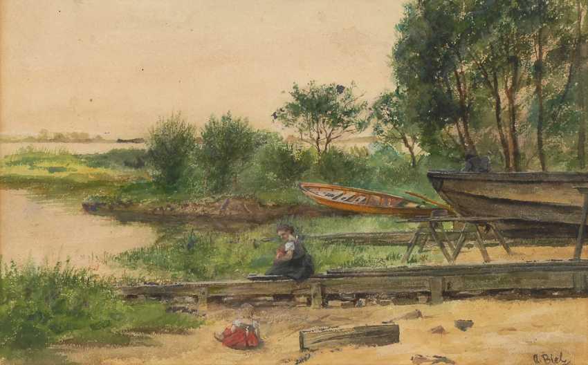 BIEL, Antonie: Uferpartie mit Booten. - Foto 1