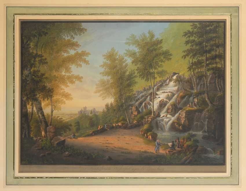 "BLEULER, Johann Heinrich: ""a waterfall near the lion's castle"". - photo 1"