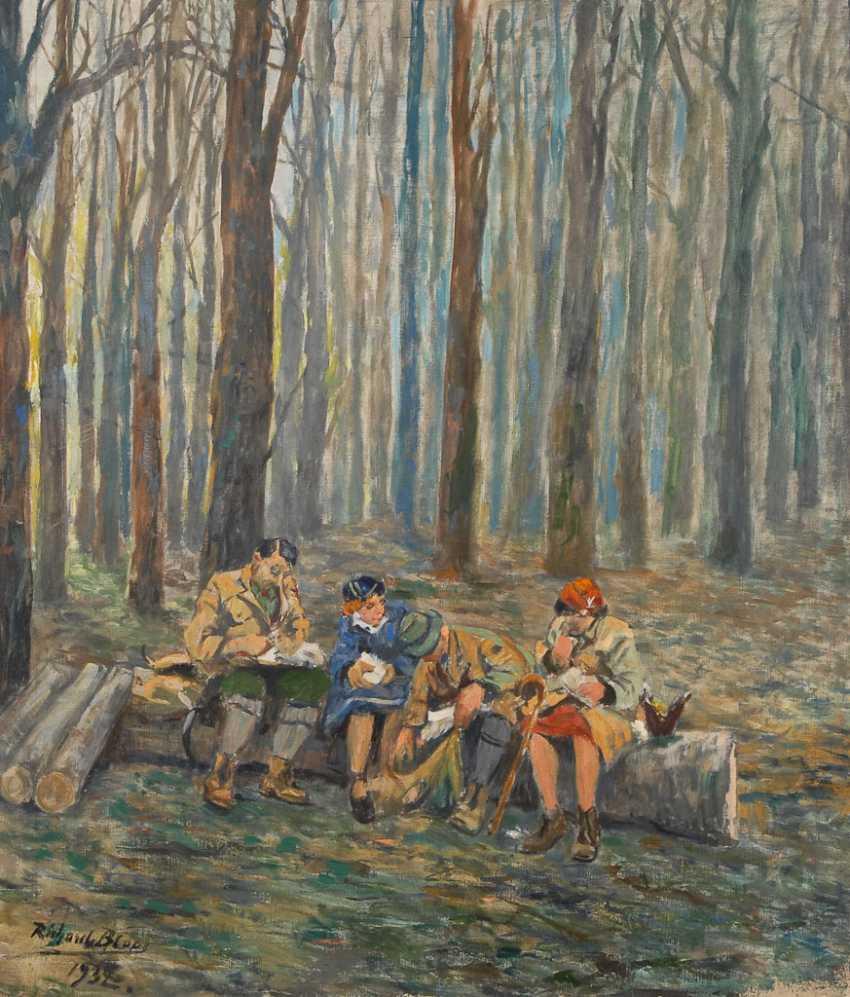BLOOS, RicharDurchmesser: Rast im Wald. - photo 1