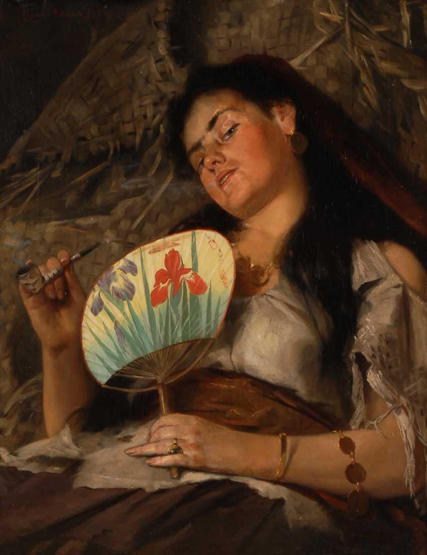 BLUME, EdmunDurchmesser: Zigeunermädchen mit Fächer. - Foto 1