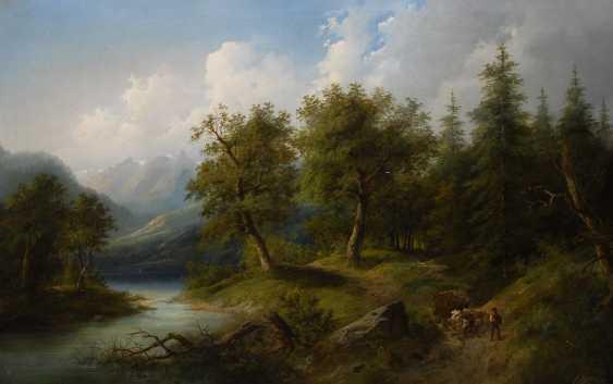 BOEHM, EduarDurchmesser: Waldlandschaft mit Staffage. - photo 1