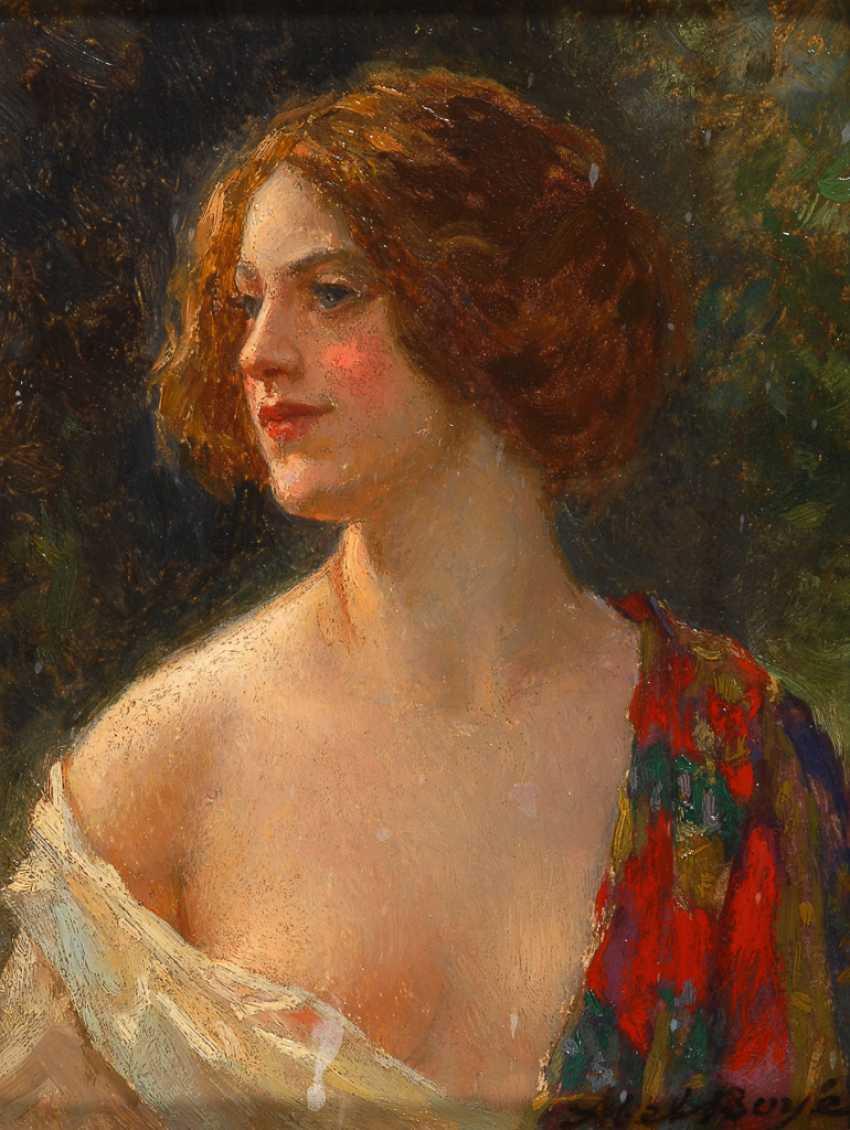 BOYÉ Abel-Dominique: art Nouveau style portrait of a young woman. - photo 1