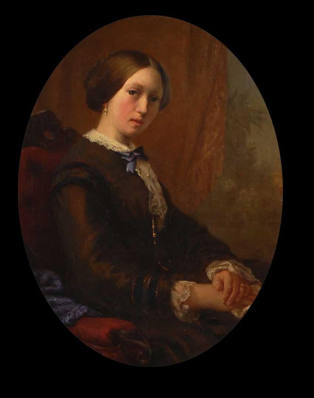 Damenbildnis im prunkvollen Goldstuckrahmen. - Foto 1