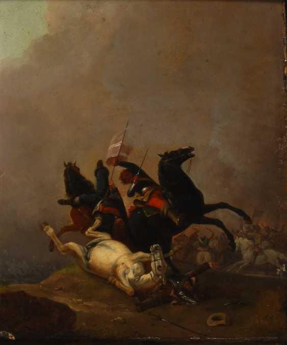 DELERIVE, Nicolas-Louis-AlberTiefe: Dramatische Reiterschlacht. - Foto 1