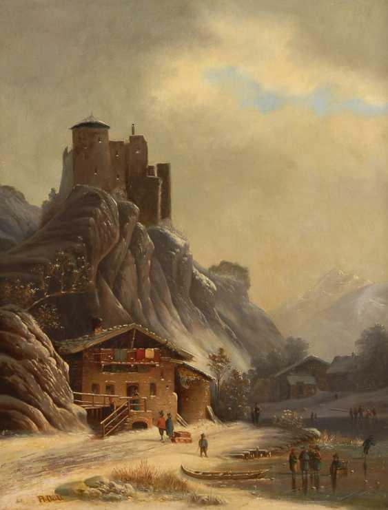 DOLL, A.: Vorgebirgslandschaft mit thronender Burg. - Foto 1