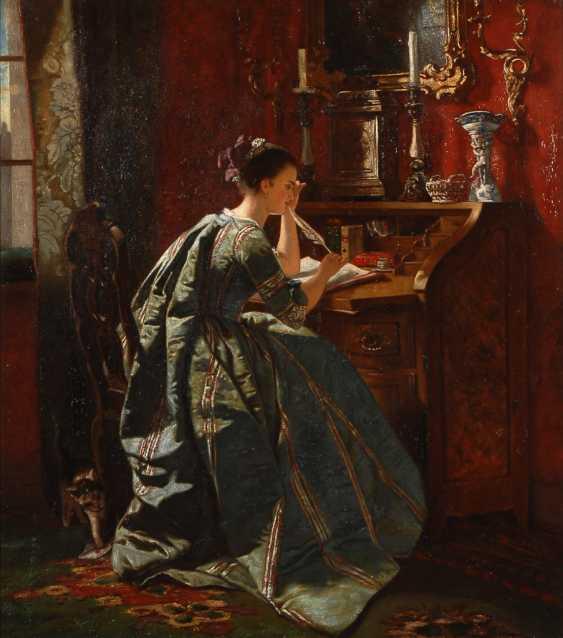 Elegante Dame am Sekretär. - Foto 1