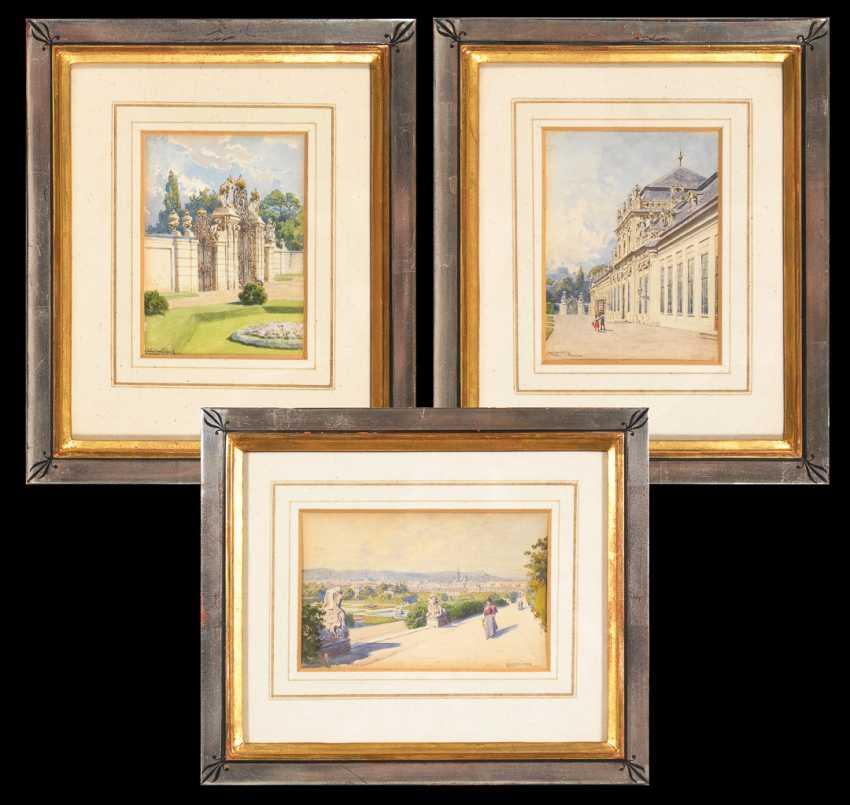 FISCHER, Ludwig Hans: Vienna - Three views of Belvedere. - photo 1