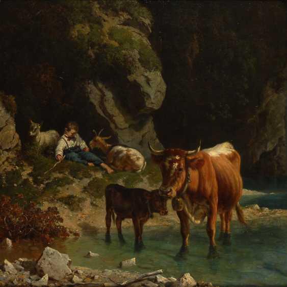FREY, Wilhelm: Viehhirte mit Kühen und Ziegen. - Foto 1