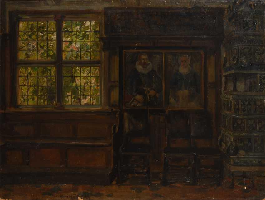 FRIEDRICH, HaralDurchmesser: Interieur mit Kachelofen und Gemälden. - Foto 1
