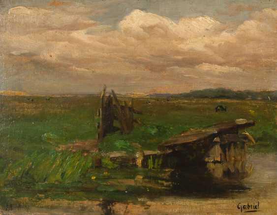 GABRIEL, Paul Joseph Constantin: Weidelandschaft mit Fluss. - Foto 1