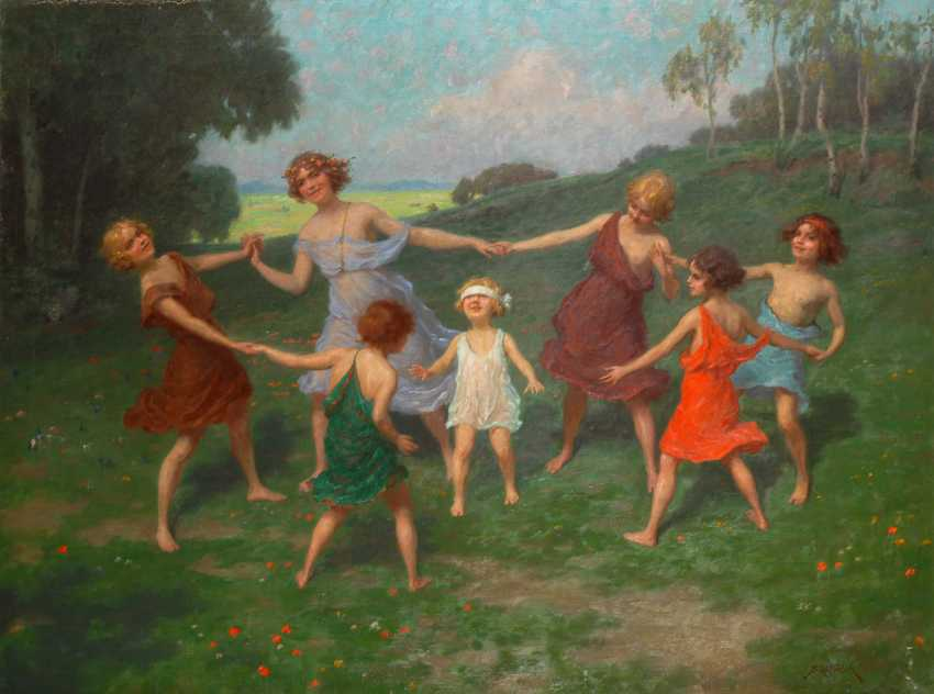 HAPPY, Simon: art Nouveau-style painting of girl dance in the spring. - photo 1