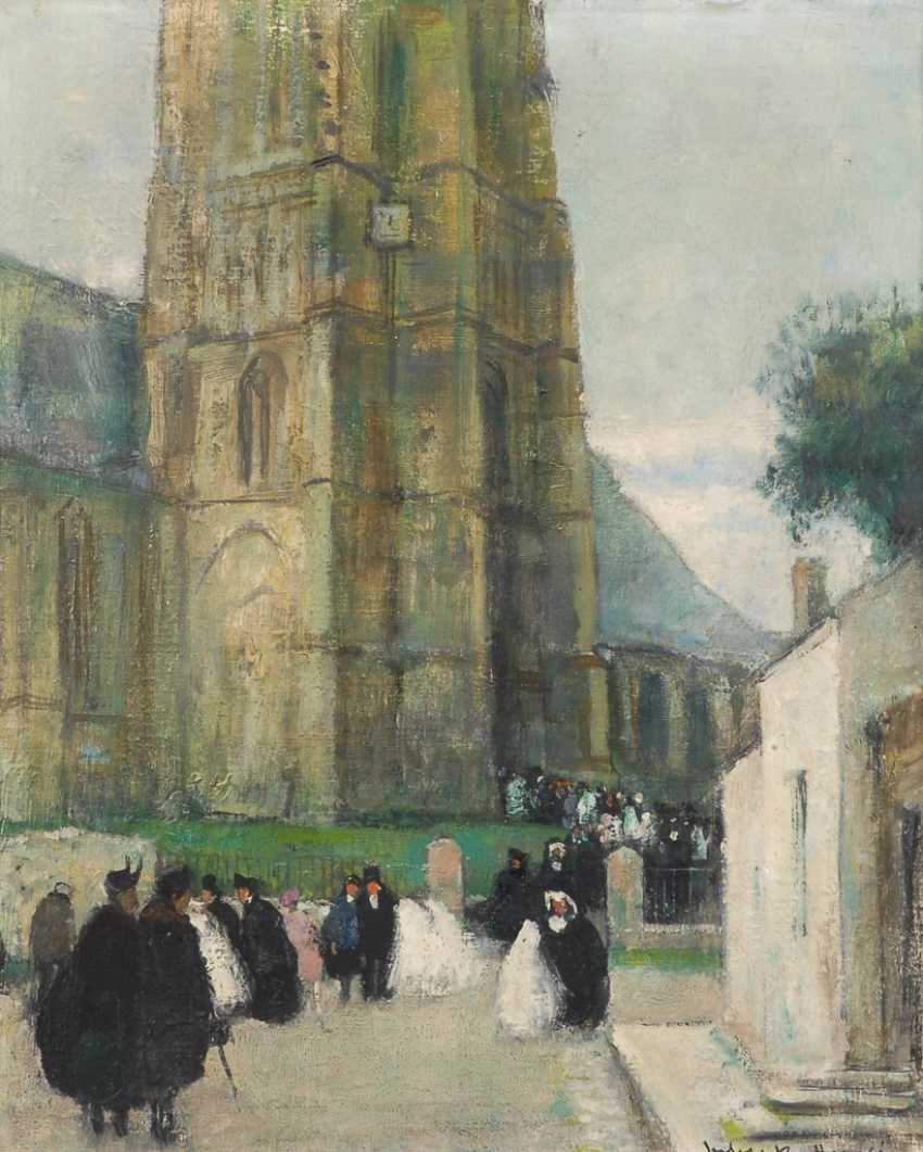HERVÉ, Jules René: Menschenmenge nach dem Kirchgang. - Foto 1
