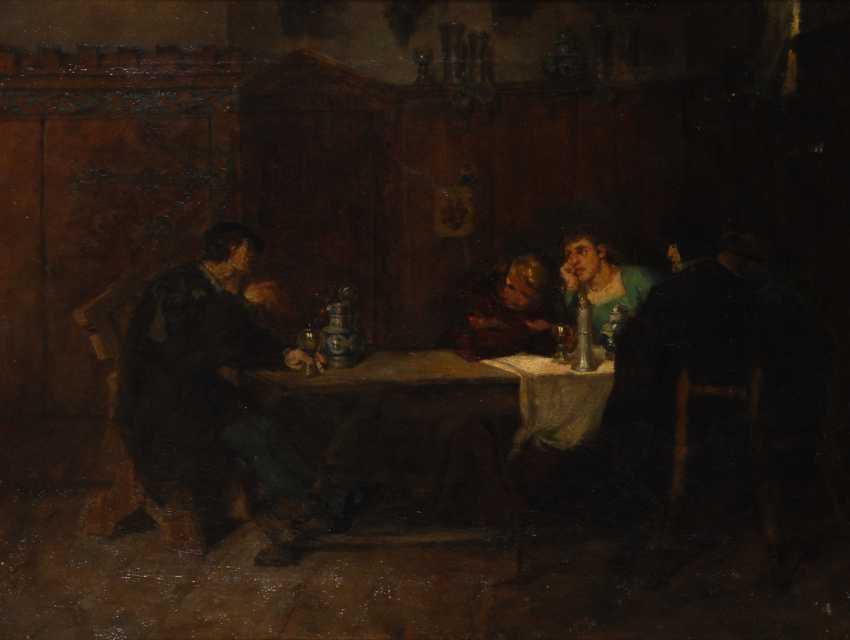 Historische Genreszene mit Trinkenden. - Foto 1