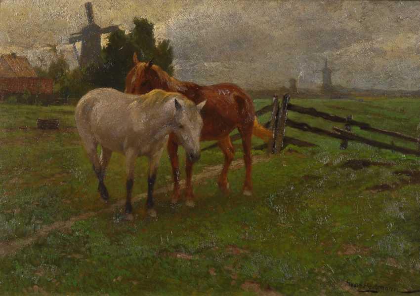 HOCHMANN, Franz: Pferde auf der Koppel. - Foto 1