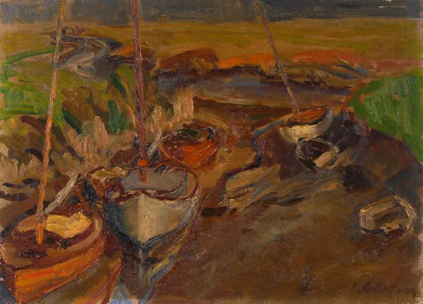 Impressionistische Flusslandschaft mit Booten. - Foto 1