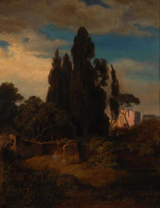 Итальянский пейзаж с кипарисами и замок. - фото 1