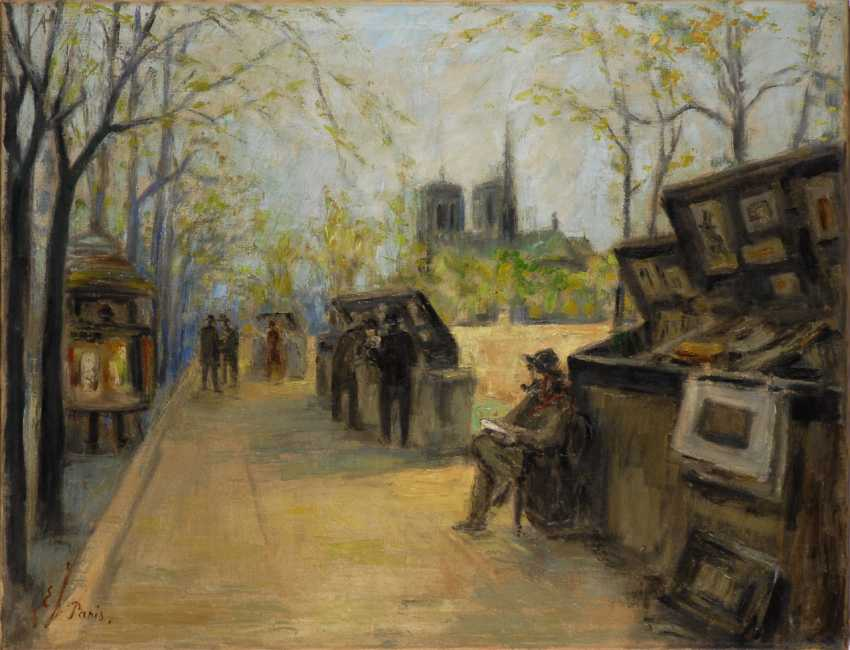 JOHANSEN, Einar: Blick auf Notre Dame mit Bukinisten in Paris. - Foto 1