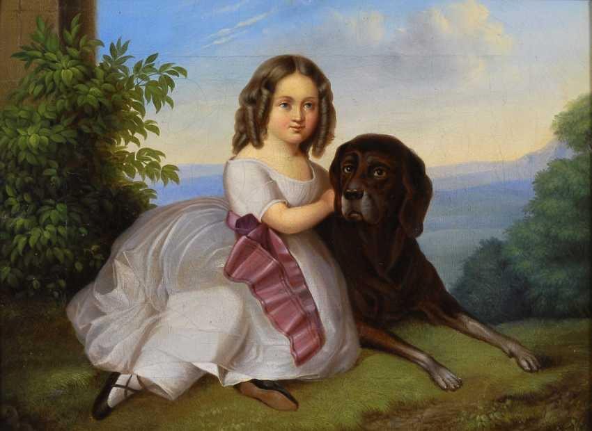 Mädchen mit Hund. - Foto 1