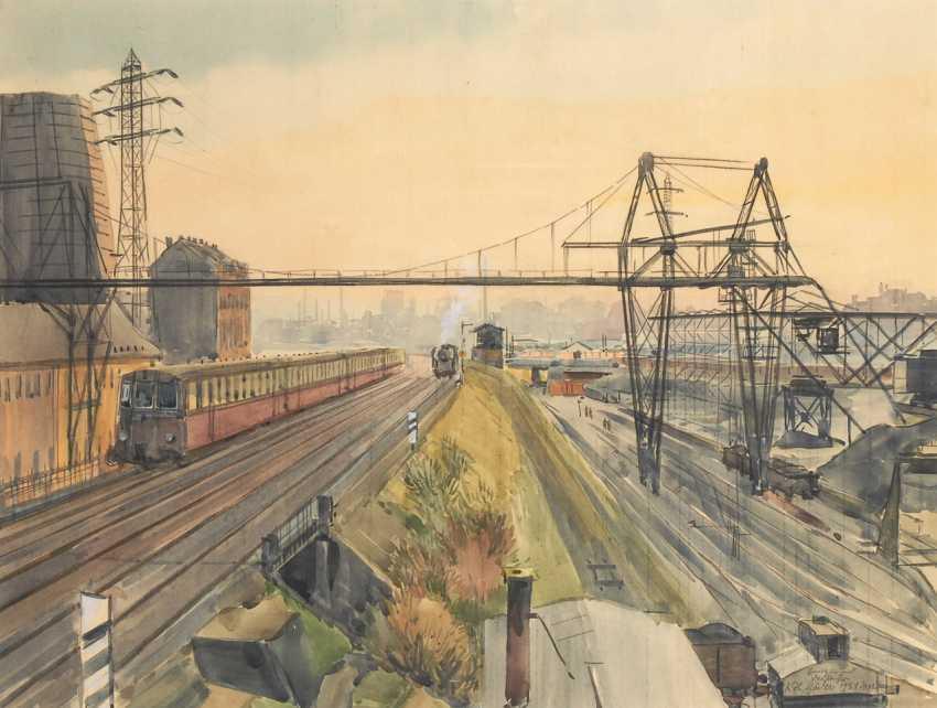 MÄDER, Karlheinz: Blick über die Bahngleise in Dresden. - photo 1