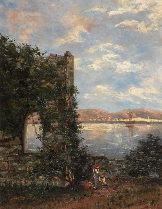MANDELSLOH, Gustav von: Kinder an der Ruine am Fluss. - Foto 1