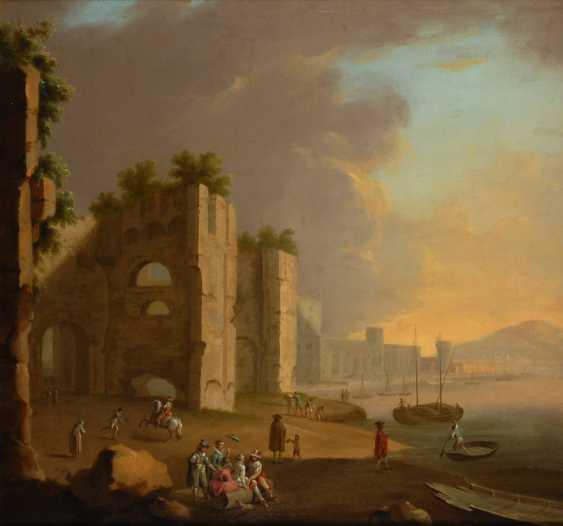 MANGLARD, Adrien zugeschrieben: Barockgemälde belebte Hafenszene mit Ruinen. - Foto 1