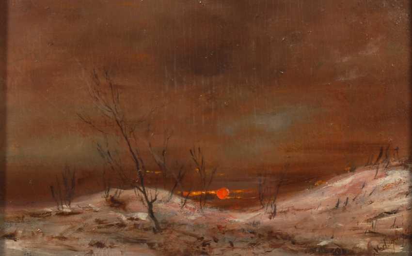 MEDNYµNSZKY, László zugeschrieben: Winterlandschaft mit Sonnenuntergang. - photo 1