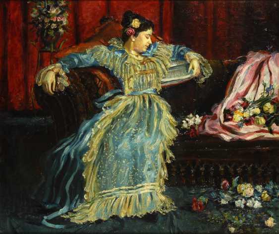 "Monogrammist ""MS"": Elegante Dame auf dem Sofa. - Foto 1"