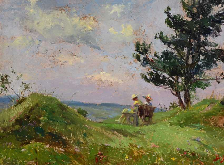 MonogrammisTiefe: Spätimpressionistische Landschaft mit zwei Frauen. - Foto 1