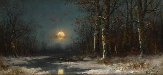 MORANES: Winterwald im Mondschein. - Foto 1