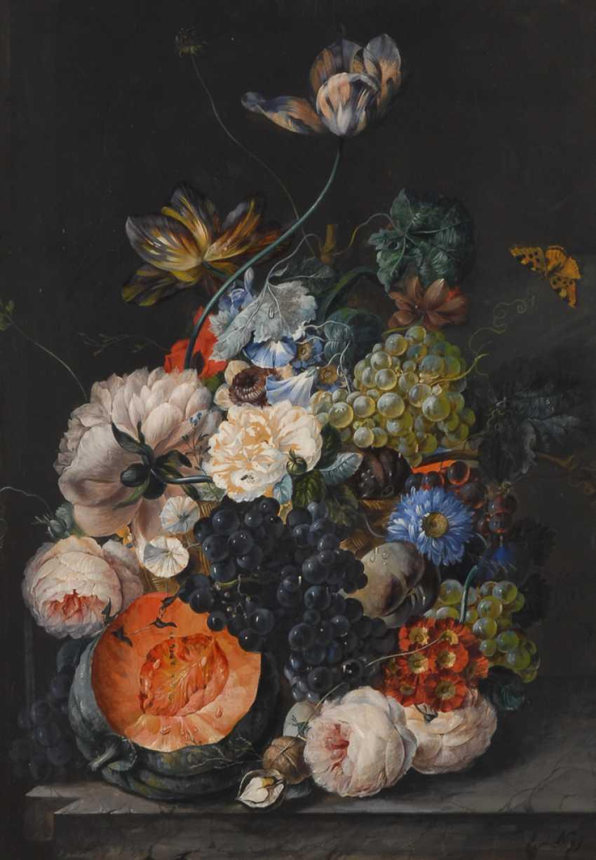 NIGelbgold, Joseph: Blumenstillleben mit Früchten und Falter. - Foto 1