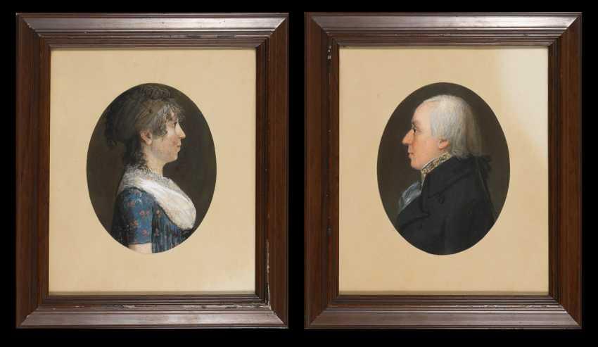 Porträtmaler um 1800: Bildnispendants eines Ehepaars. - Foto 1