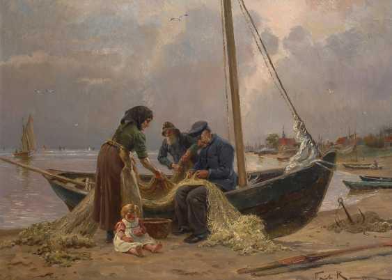 RAUPP, Fritz: Fischerfamilie am Strand. - Foto 1