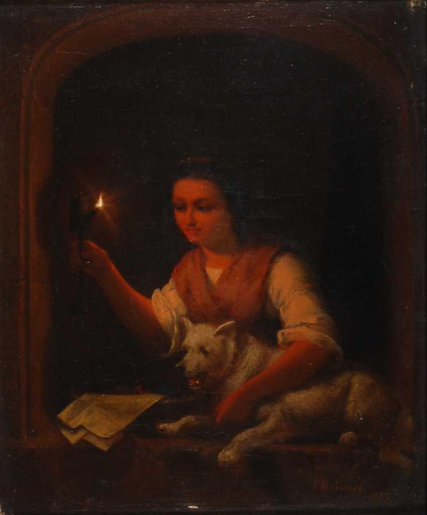 REINERS, JakoBreite: Genreszene mit junger Frau im Kerzenschein. - Foto 1