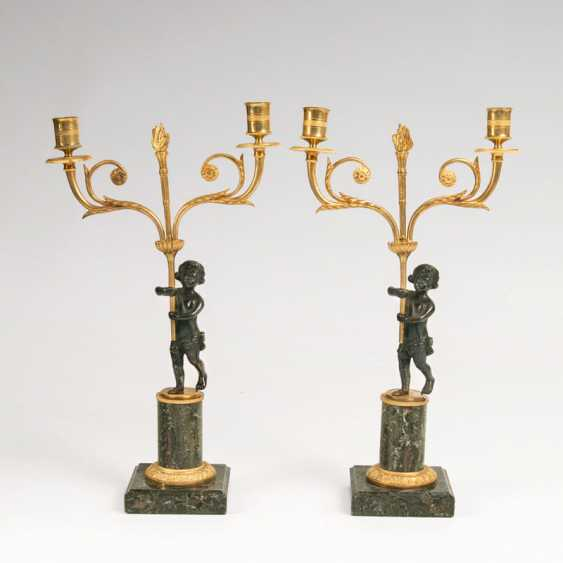 """""""Pair of small Empire candelabra with a Putto"""" - photo 1"""