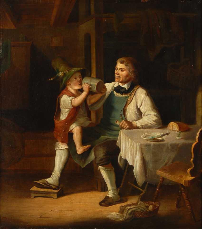 ROESSLER, Georg: Vater und Sohn in der Stube. - Foto 1