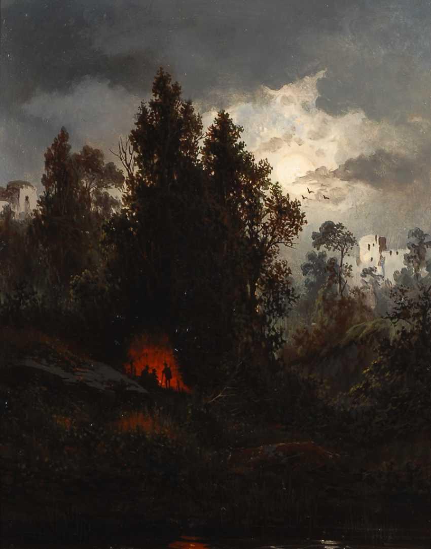 Romantiker: Vollmond über der Waldlandschaft. - Foto 1