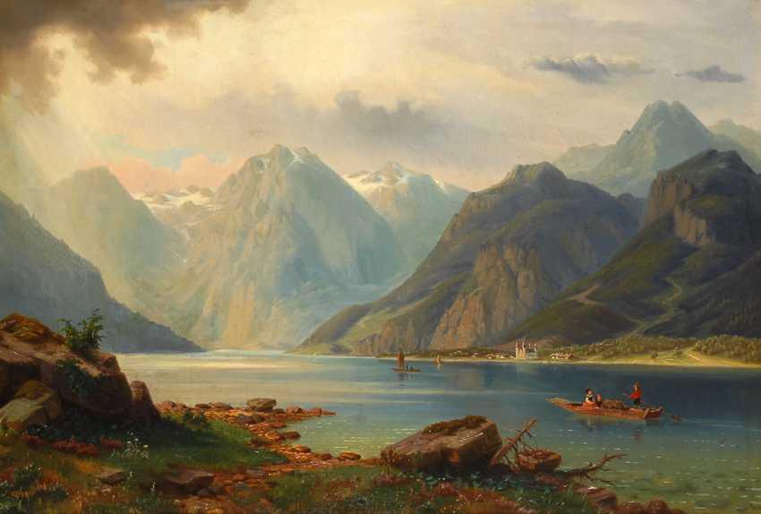 Romantische Alpenlandschaft mit Gebirgssee. - photo 1