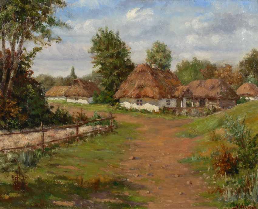 Russischer Maler: Russisches Dorf. - Foto 1