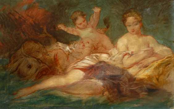 Salonmaler des 19. JahrhunderTiefe: Studie einer Dame mit Putten. - Foto 1