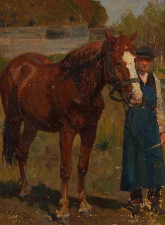 STRÜTZEL, Otto: Bauer mit Pferd. - Foto 1