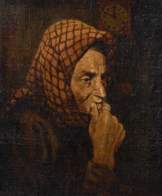 Undeutlich signierTiefe: Bildnis einer alten Frau. - Foto 1