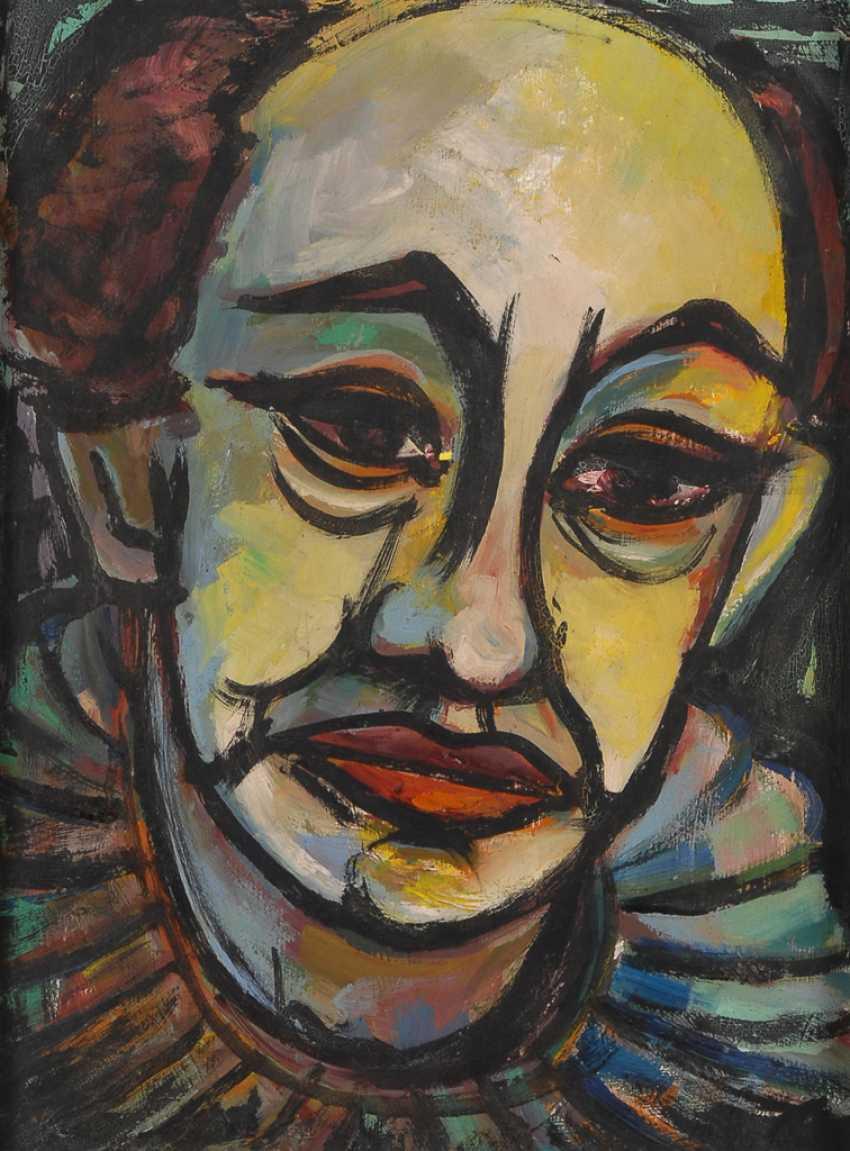 Undeutlich signierTiefe: Bildnis eines traurigen Clowns. - Foto 1
