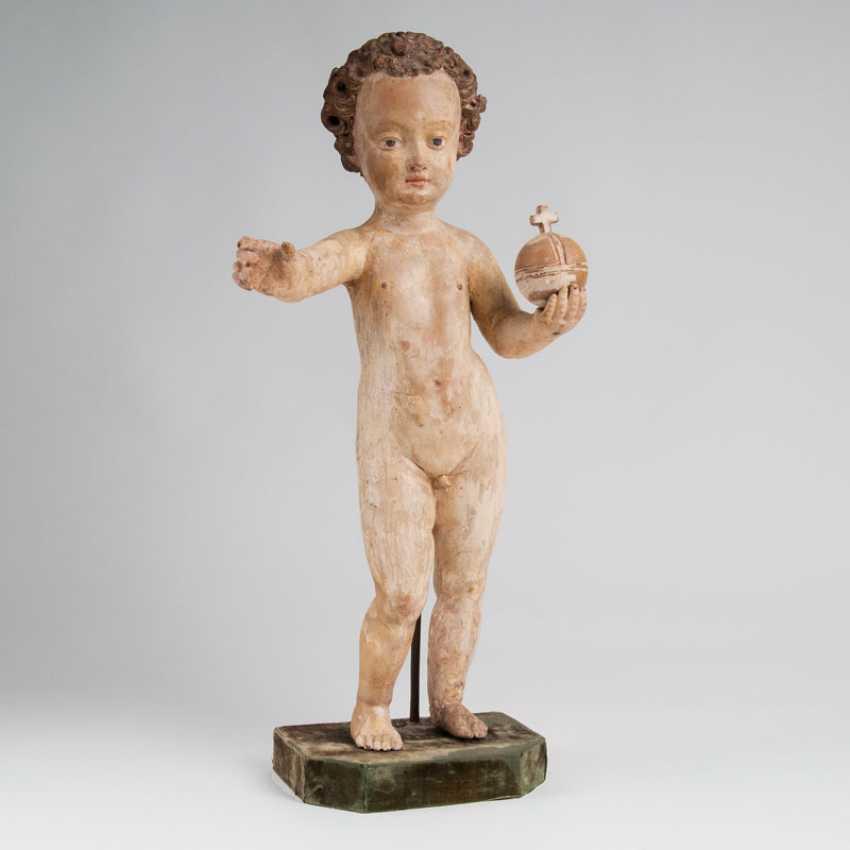 """Wood Sculpture 'Segnendes Child Jesus""' - photo 1"
