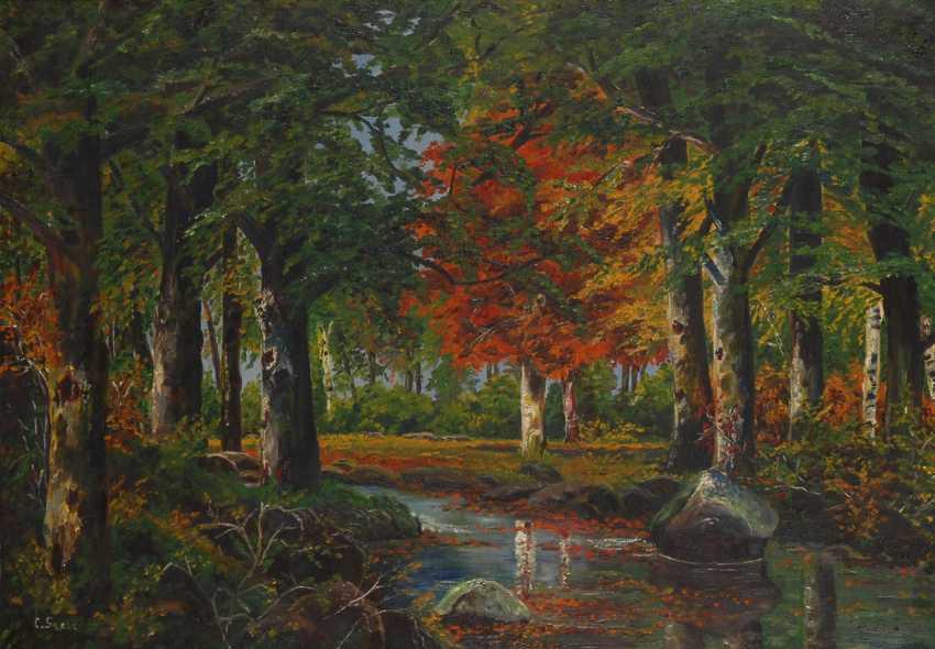 Undeutlich signierTiefe: Waldlandschaft. - Foto 1