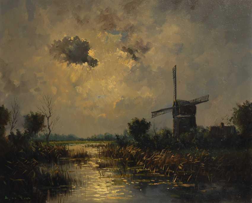 Undeutlich signierTiefe: Windmühle im Mondschein. - Foto 1