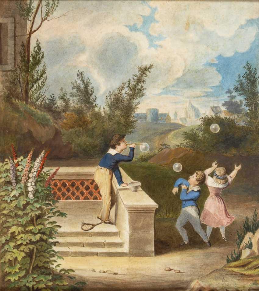 UnsignierTiefe: Biedermeier-Bild mit spielenden Kindern. - Foto 1
