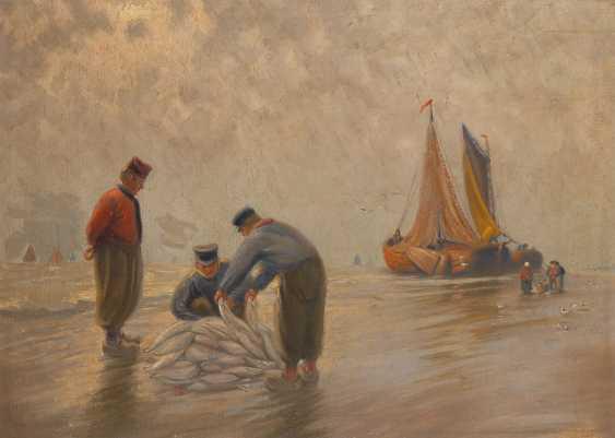 UnsignierTiefe: Fischersleute am Strand. - Foto 1