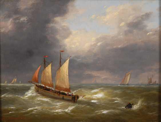 VERBOECKHOVEN, Charles-Louis: Segelschiffe in bewegter See. - Foto 1